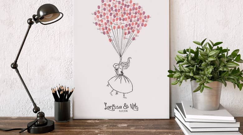 Here you can find a selection of products where you can add your own name. Wonderful as gifts are the fingerprint guestbooks. & Wall art + personalised text
